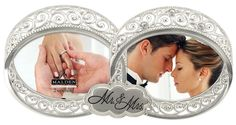 Malden International Designs Wedding Mr. and Mrs. Double Wedding Ring With Jewels Picture Frame, 2 Option, 2-4x4, Silver >>> Learn more by visiting the image link. (This is an affiliate link) #PictureFrames