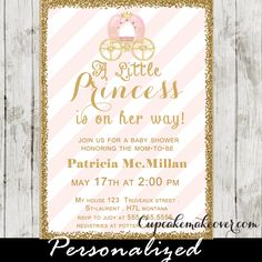 A new little princess is on the way!  Celebrate the new arrival with this printable pink & gold royal princess baby shower invitation. This elegant princess themed baby shower invitation features a beautiful carriage against a soft pink and white striped backdrop with faux gold glitter.  #cupcakemakeover