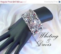 Vintage Whiting & Davis Silver Mesh Hinged Bangle Bracelet ~ 3-D Design by MarlosMarvelousFinds, $40.66