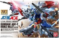 """Bandai Hobby #17 Gundam AGE-2 Double Bullet """"Gundam Age"""" 1/144 - High Grade Age. Snap together no glue required. Colored plastic; no paint required. Runner x6; foil sticker x1; instruction manual."""