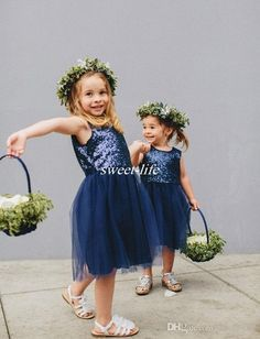Cheap Flower Girl Dresses Sparkly Sequins Navy Blue Tulle Knee Length Jewel 2016 Cute Kids Wedding Party Formal Dress Girls Pageant Dresses Online with $48.93/Piece on Sweet-life's Store | DHgate.com
