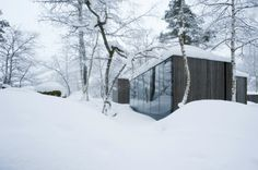 Juvet Landscape Hotel in Winter in Snow Cabins in Norway Modern Minimalist