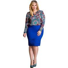 Saia Recorte Plus Azul Nítido Jeans #viaevangelica #nitidojeans #modaevangelica #modafeminina