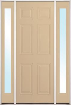 "8'0"" Tall 6-Panel Woodgrain Fiberglass Door Unit with Sidelites"