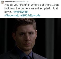 OMG!!! Jensen looking to the camera at #Supernatural Fan Fiction 10x05... SWOON <3. source: My Name's Dean Winchester. I'm An Aquarius SPN Quotes FB.