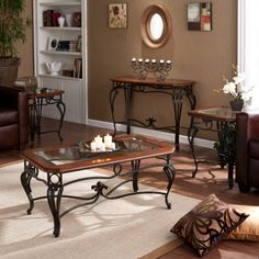 Metal and Glass Coffe Table, Sofa Table & End Table Collection : Living Room Collections