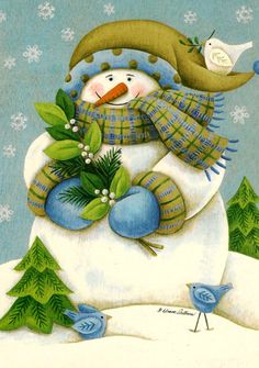 Adorable snowman with green and blue details
