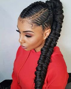 Fishtail Braid Ponytail Bored of the way you typically wear your braided ponytail? To give you some hair inspiration, we've found 43 of the best styles for Box Braids Hairstyles, Braided Ponytail Hairstyles, Ponytail Styles, Braid Styles, Curly Hair Styles, Natural Hair Styles, Mohawk Braid, School Hairstyles, Updo Hairstyle