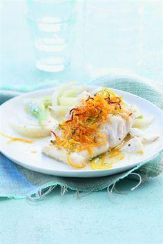 Cabillaud pané aux agrumes, fenouil braisé - Larousse Cuisine