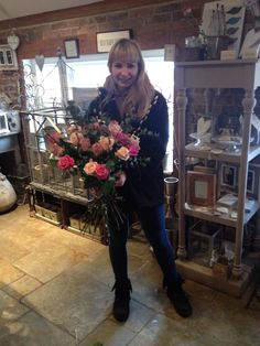 Libby making a gorgeous rose bouquet for Valentine's Day