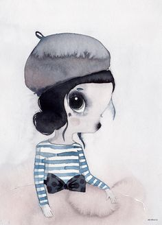 Mrs Mighetto - 'Les Petits' Miss Vivienne watercolour art print - 50x70cm framed in White - STORE PICKUP ONLY