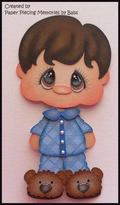 Pajama Boy dark hair Premade Paper Piecing Die Cut for Scrapbook Page byBabs