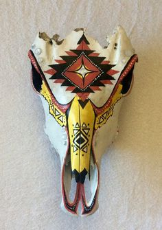 Painted Cow Skull by ArtisticallyDevon on Etsy