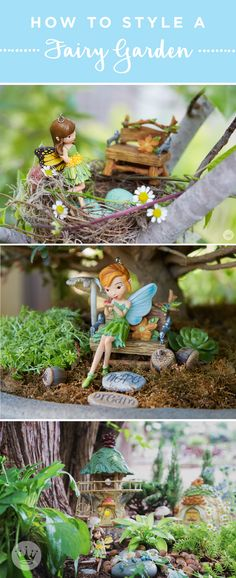 Styling tips and tricks for creating a magical fairy garden Welcome to the summer by decorating your Mini Fairy Garden, Fairy Garden Houses, Fairy Gardening, Fairies Garden, Gardening Blogs, Flower Fairies, Create A Fairy, Fairy Crafts, Fairy Doors