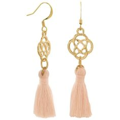 Gold tone fashion earrings with peach threaded tassels ($13) ❤ liked on Polyvore featuring jewelry, earrings, tassel jewelry, celtic jewellery, peach jewelry, celtic jewelry and fringe tassel earrings