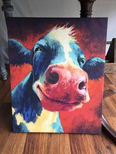 New happy cow face canvas print 16 Images D'art, Cow Pictures, Canvas Art, Canvas Prints, Cow Canvas, Happy Cow, Cow Face, Cow Painting, Farm Art