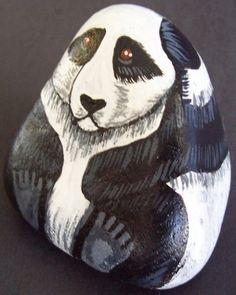 Painted Panda Rock painting Stone art