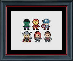 The Avengers (The Hulk, Iron Man, Captain America, Thor, Black Widow, Hawkeye) Marvel Cross Stitch Pattern by StunningCrossStitch