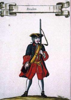 Fusilier of the Regiment Baden-Dourlacq (Piedmont, 1742).