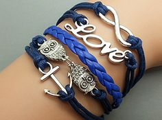 Infinity Bracelet Love Bracelet Owls Bracelet by Infinitywishes, $6.99
