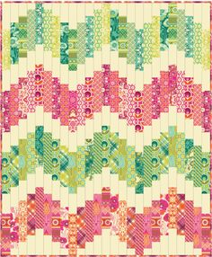 Freespirit fabric - Notting Hill free pattern by Joel Dewberry Bargello Quilts, Jellyroll Quilts, Scrappy Quilts, Easy Quilts, Quilting Tutorials, Quilting Projects, Quilting Designs, Quilting Ideas, Chevron Quilt