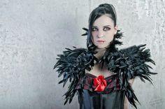 "Opulenter Gothic Feder Bolero ""Raven"" in schwarz von DeadDoll`s Needful Things auf DaWanda.com"