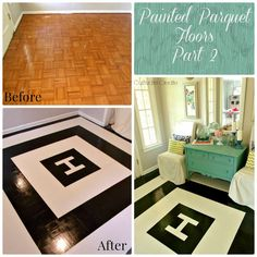 "DIY Painted parquet floor- Again, not feeling the design that she went with. Pretty but just not me. But I do appreciate the ""how to"" on painting outdated parquet flooring for cheap. Diy Flooring, Parquet Flooring, Paint Colors For Home, House Colors, Ikea Rug, I Do Bbq, Fancy Houses, Couple Shower, Diy House Projects"