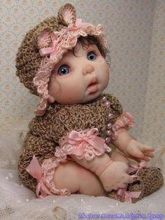 OOAK polymer clay art doll baby by mommakappie by felicia Pretty Dolls, Cute Dolls, Beautiful Dolls, Ooak Dolls, Reborn Dolls, Doll Toys, Baby Dolls, Biscuit, Baby Fairy