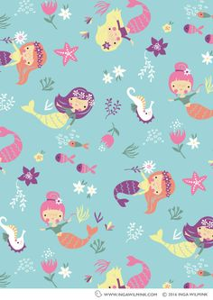 Inga Wilmink is an established freelance Illustrator & Surface Pattern Designer. Buy, license or commission colourful and quirky art, graphic prints and repeat patterns for your product. Summer Wallpaper, Cute Wallpaper Backgrounds, Wallpaper Iphone Cute, Cute Wallpapers, Mermaid Wallpaper Backgrounds, Tableaux D'inspiration, Mermaid Wallpapers, Mermaid Illustration, Quirky Art