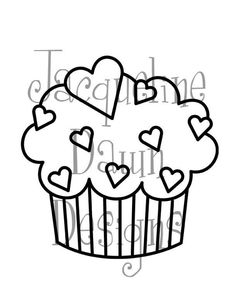 Digital Stamp Cupcake with Hearts by paperaddictions on Etsy