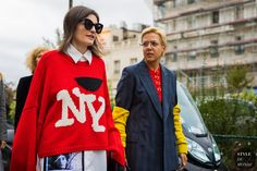 Paris SS 2018 Street Style: Irina Linovich and Ksenia Chilingarova
