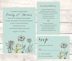 printable wedding invitation printable wedding spring flowers sage green yellow floral rsvp digital invite DIY customizable personalized