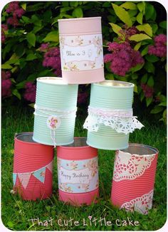 Wrapped decorated cans for party favors/decor