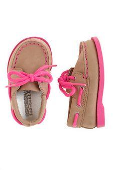 Tiny Topsiders ~ tan & pink