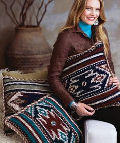 Desert Pillows Free Crochet Pattern from Red Heart Yarns