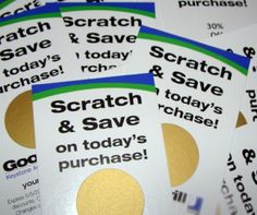 Scratch off stickers used to increase sales using scratch off cards -scratch off coupon Save The Date Scratch Off, Scratch Off Cards, Marketing Materials, Marketing Tools, Internet Marketing, Make Your Own, Make It Yourself, How To Make, Off Game