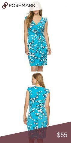 BRAND NEW Chaps Faux Wrap Dress BRAND NEW. Aqua blue floral dress. Chaps Dresses