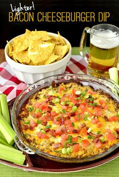 Lighter Bacon Cheeseburger Dip. Serve with chips and veggies for football games, parties, potlucks, or your next Sunday funday! Enjoy!