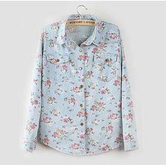 2017 Novas Blusas Moda Mulheres Lapela Denim Camisa Casual Floral Topos de impressão Luva Longa Das Meninas Blusas Roupas de Cowboy Feminino 2 cor