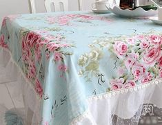 This would look so cute for the cake table! Shabby Chic Table Cloth for a Shabby Chic Birthday Party