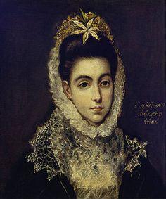 Greco El (Dominikos Theotokopoulos): Brustbild einer jungen Dame in einem schwarzen Kleid mit weißem Spitzenkragen und einer Blume im Haar.