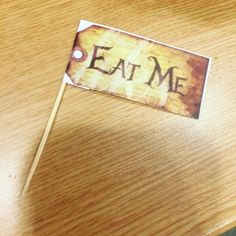 This morning I will mostly be making eat me labels #aliceinwonderland #party