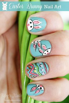 Easter Bunny Nail Art tutorial - such a cute nail design for Easter