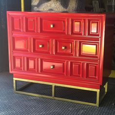 You already know I am all about that BASE! Glossy lacquer + new pulls + custom base on a vintage Hebredon 👌🏼👌🏼 Come check out our inventory! I'm here till . Red Painted Furniture, Funky Furniture, Furniture For Small Spaces, Handmade Furniture, Upcycled Furniture, Custom Furniture, Luxury Furniture, Vintage Furniture, Bench Furniture
