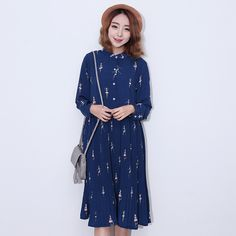 New Women Long Dresses for Women printed Cartoon Women's Clothing Casual Fashion loose Home shirts dress Pleated Chiffon dress -- See this great product.