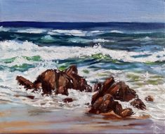 Sunshine Coast, Invites, South Africa, Oil On Canvas, Shells, Waiting, Waves, Colorful, Gallery