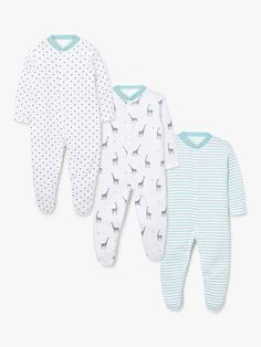 Buy John Lewis & Partners Baby GOTS Organic Cotton Giraffe Sleepsuit, Pack of Multi from our Baby & Toddler Sleepsuits range at John Lewis & Partners. Baby Checklist Newborn, New Baby Checklist, Baby Skin, Baby Essentials, Unisex Baby, Fun Prints, Baby Wearing, Baby Boy Outfits, John Lewis