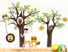 """Adesivo Stickers murale per bambini """"Bosco allegro"""" - Misure 223x150 cm - Decorazione parete, adesivi per muro: Amazon.it: Casa e cucina"""