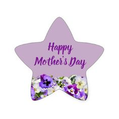Custom Purple Happy Mother's Day Star Sticker - script gifts template templates diy customize personalize special