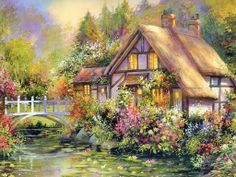 Cottage on Waterlily Lane. By Jim Mitchell. Thomas Kinkade, Cross Paintings, Watercolor Paintings, House Paintings, Art Paintings, Pintura Colonial, Jim Mitchell, Belle Image Nature, Storybook Cottage